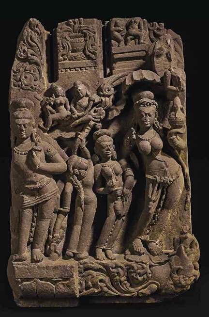 a_red_sandstone_relief_with_ganga_india_madhya_pradesh_8th_9th_century_d5823380g
