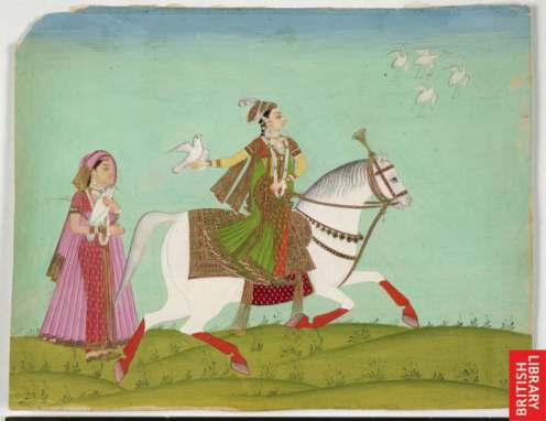 Chand Bibi indulging in falconry. Image source - Wikimedia commons