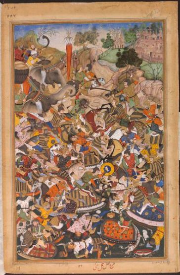 Durgawati's battle with Asaf Khan as depicted in a folio of Akbarnama. Image source - Internet