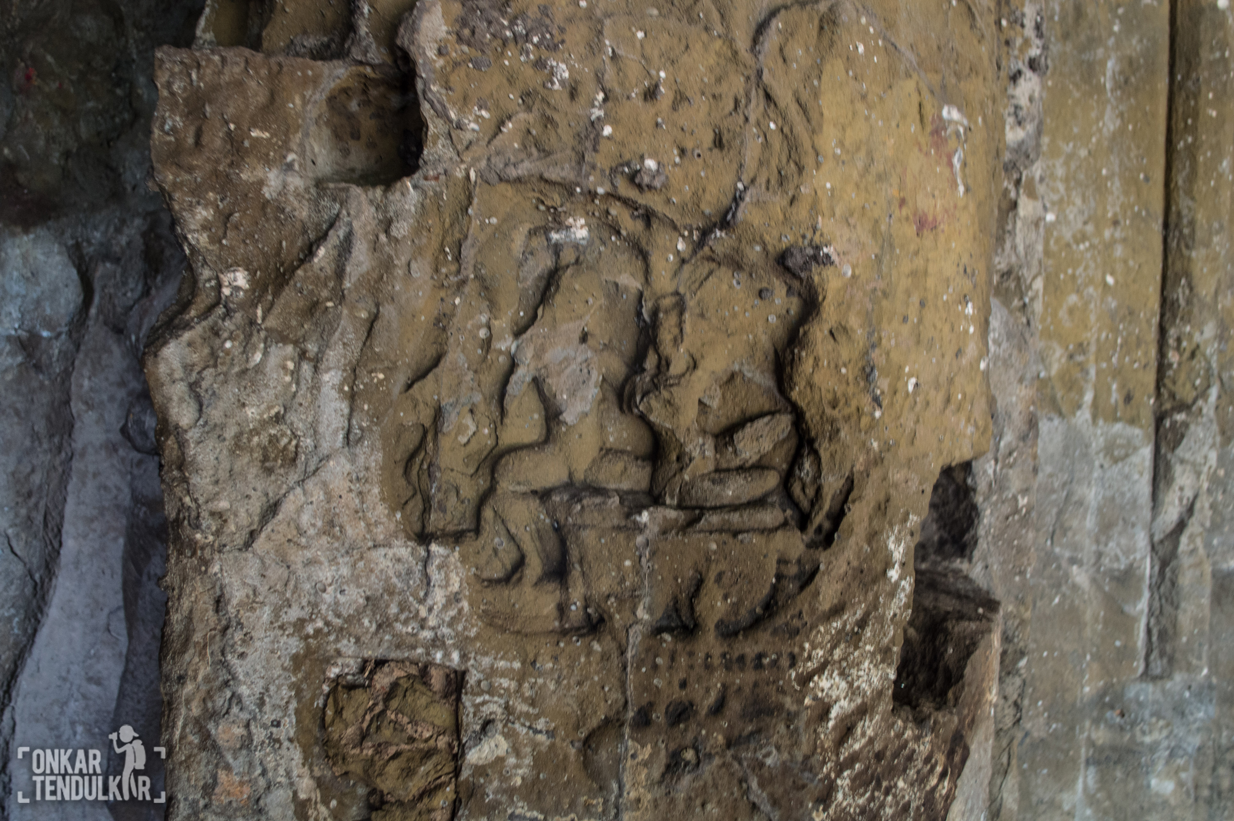 Sculpture on a pillar in cave 1