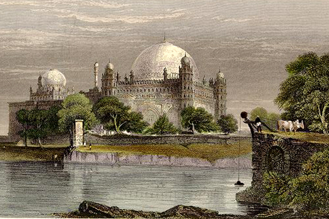 Bijapur- old sketch - Sultan Mahomed Shah's Tomb [colour]
