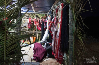 temporary green rooms for theyyam makeups