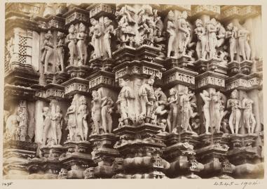 5-Topographical Album, 19thC, 'Views of Central India by Deen Diyal, Indore'_ Diyal, Deen (Indore). India, Khajiraha, Kandariya Temple, detail of carving, V&A
