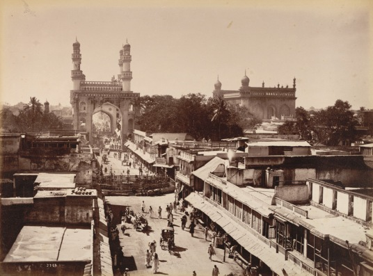 8-Principal street showing Char Minar, Hyderabad, 1880 Ce, Brit-lib