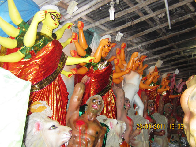 Deities stands at various stages of completion
